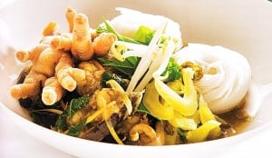 Noodle with fish curry sauce Thailand