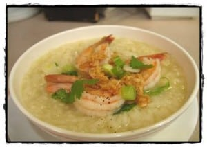 Rice soup with shrimp